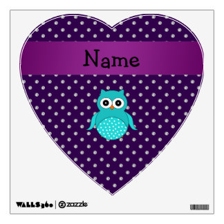 Personalized name turquoise owl purple diamonds wall decal