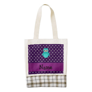 Personalized name turquoise owl purple diamonds zazzle HEART tote bag