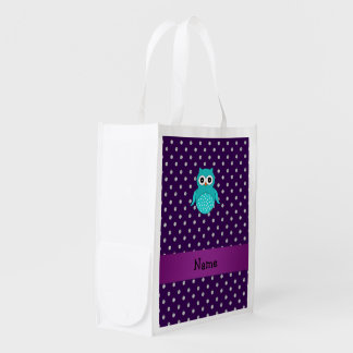 Personalized name turquoise owl purple diamonds grocery bags