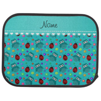Personalized name turquoise owls flowers ladybugs car mat