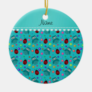 Personalized name turquoise owls flowers ladybugs ceramic ornament