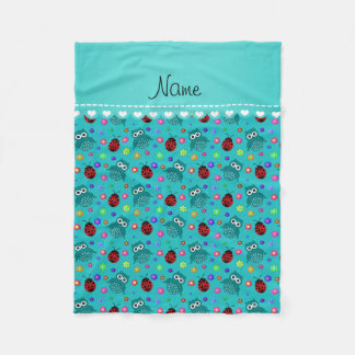 Personalized name turquoise owls flowers ladybugs fleece blanket