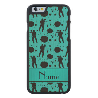 Personalized name turquoise paintball pattern carved® maple iPhone 6 slim case