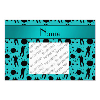 Personalized name turquoise paintball pattern photo print
