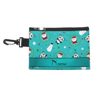 Personalized name turquoise panda santas christmas accessory bags