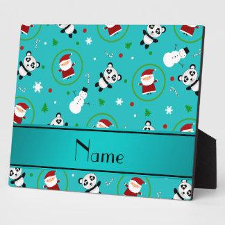 Personalized name turquoise panda santas christmas plaque