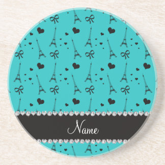 Personalized name turquoise paris eiffel tower drink coaster