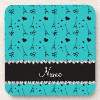 Personalized name turquoise paris eiffel tower coaster
