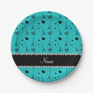 Personalized name turquoise paris eiffel tower paper plate