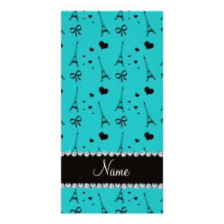 Personalized name turquoise paris eiffel tower photo card