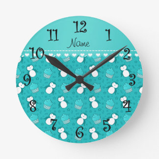 Personalized name turquoise penguins cupcakes star round clock