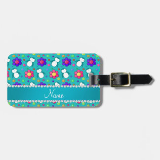 Personalized name turquoise penguins flowers bag tag