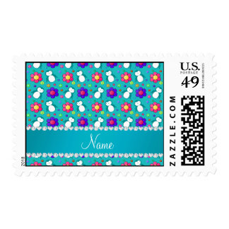 Personalized name turquoise penguins flowers postage