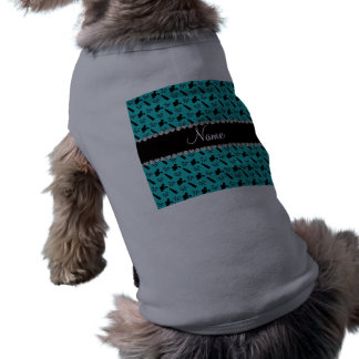 Personalized name turquoise perfume lipstick bows pet shirt
