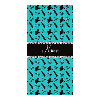Personalized name turquoise perfume lipstick bows photo card