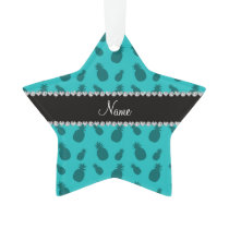 Personalized name turquoise pineapple pattern ornament