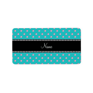 Personalized name turquoise pink diamonds custom address labels
