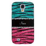 Personalized name turquoise pink glitter zebra galaxy s4 case