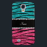 "Personalized name turquoise pink glitter zebra samsung galaxy s4 case<br><div class=""desc"">Chic and modern Zebra gift ideas. Turquoise and pink glitter zebra stripes animal print (not real glitter) pattern background black diamonds stripe (faux diamonds, not real) with hearts and dots personalized with your name gifts or monogram gifts or your initials. Ideal for bride and groom weddings, wedding showers, engagement showers,...</div>"