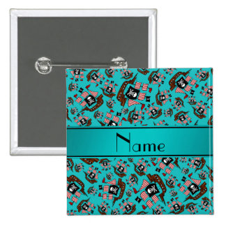 Personalized name turquoise pirate ships 2 inch square button