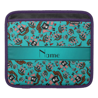 Personalized name turquoise pirate ships sleeve for iPads