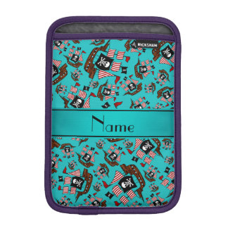 Personalized name turquoise pirate ships sleeve for iPad mini