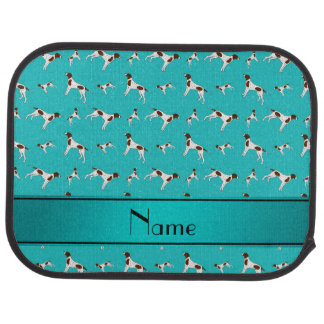Personalized name turquoise Pointer dogs Car Floor Mat