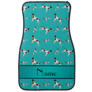 Personalized name turquoise Pointer dogs Car Mat