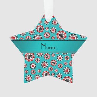 Personalized name turquoise poker chips