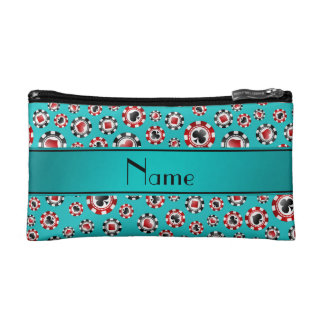 Personalized name turquoise poker chips makeup bag