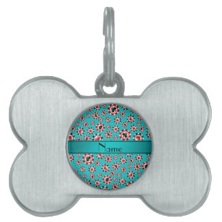 Personalized name turquoise poker chips pet ID tag