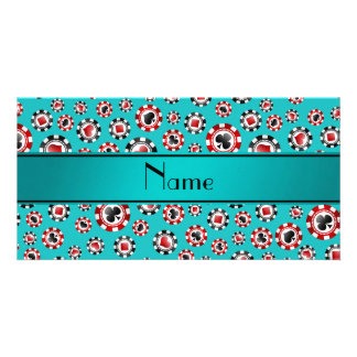 Personalized name turquoise poker chips customized photo card