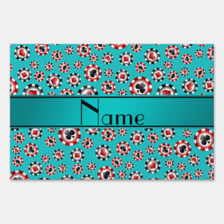 Personalized name turquoise poker chips signs