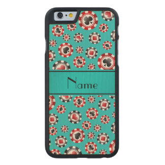 Personalized name turquoise poker chips carved® maple iPhone 6 slim case