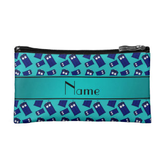 Personalized name turquoise police box cosmetic bags