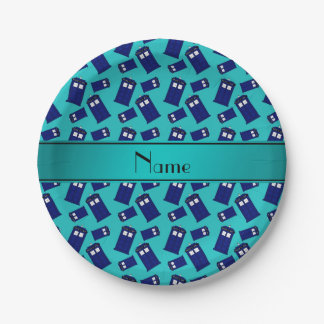 Personalized name turquoise police box paper plate