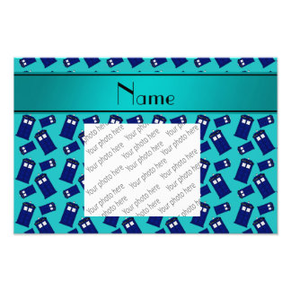 Personalized name turquoise police box photo