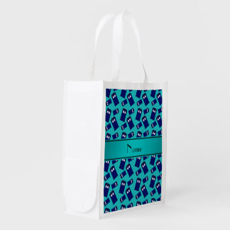 Personalized name turquoise police box grocery bags