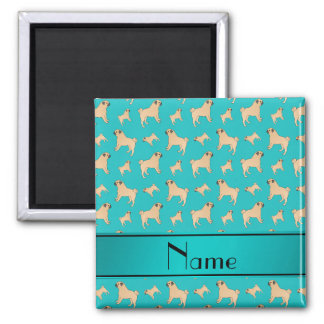 Personalized name turquoise Pug dogs Magnet