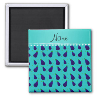 Personalized name turquoise purple eggplants 2 inch square magnet