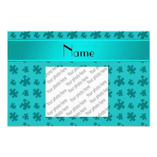 Personalized name turquoise puzzle art photo