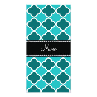 Personalized name turquoise quatrefoil pattern photo card