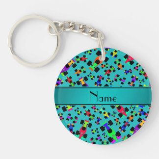 Personalized name turquoise race car pattern Single-Sided round acrylic keychain