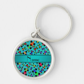 Personalized name turquoise race car pattern Silver-Colored round keychain