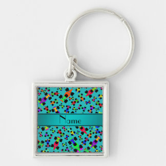 Personalized name turquoise race car pattern Silver-Colored square keychain