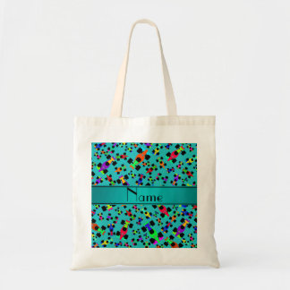 Personalized name turquoise race car pattern tote bag