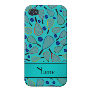 Personalized name turquoise racquetball pattern covers for iPhone 4