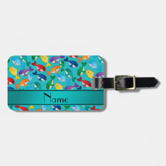 Personalized name turquoise rainbow blue whales bag tag