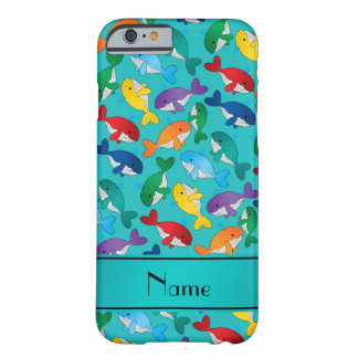Personalized name turquoise rainbow blue whales barely there iPhone 6 case