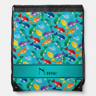 Personalized name turquoise rainbow blue whales drawstring backpack